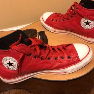 Red converse leather